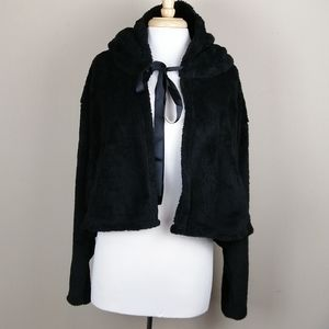 Favlux Fashion fuzzy hooded tie front jacket
